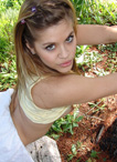 Teen Topanga posing outside in her blue panties from Teen Topanga